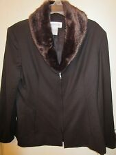 Jones New York Ladies Size 16 Brown Wool Suit Coat Jacket W/Faux Fur Collar Nwts