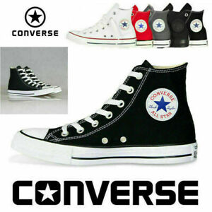 All Star Converse Unisex Chuck Taylor Hi Top Black Lace Up Canvas Trainers UK