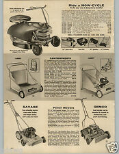 1958 PAPER AD Mow Cycle 3 Wheel Lawn Mower Electric Start Savage Gemco Aqua Lung