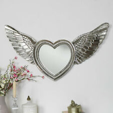 Silver angel wing wall mirror heart cherub vintage shabby chic living room gift