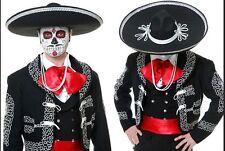 JUMBO LARGE BLACK MEXICAN MARIACHI SOMBRERO HALLOWEEN DAY OF THE DEAD HAT G0574