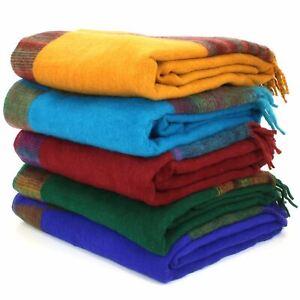 Tibetan Wool Blend Shawl Blanket Wrap Throw Boho Meditation Travel