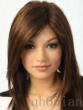 New sexy ladies Medium long Dark Brown Straight Natural Hair wigs / wig cap