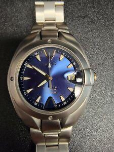Seiko 8F32-0049  Titanium Blue dial Gold accents HAQ