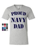 Proud Navy Dad V-Neck T-Shirt Patriotic Veteran Navy Seal Father's Day Tee