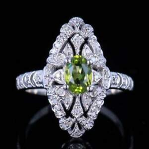 1.1CT Green Peridot 5x8mm Oval Real SI/H Diamonds Gemstone Ring Sterling Silver
