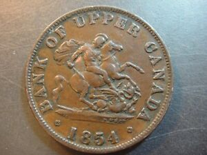 1854 Canada Half Penny Token. Bank of Upper Canada. Very Fine - Extra Fine.