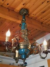 ANTIQUE VINTAGE ART NOUVEAU BRASS CHANDELIER TURQUOISE PORCELAIN 3 LIGHTS 30""