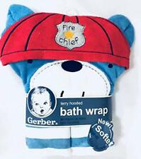 Nwt Gerber Baby Fireman Dog Terry Hooded Bath Towel Wrap Infant Newborn Baby