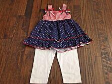 Blueberi Boulevard Baby Toddler NWT Girl Red White & Blue Dress with Leggings, 4