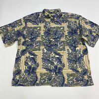 Hibiscus Hawaii Button Up Shirt Mens XXL Tan Blue Floral Hawaiian Short Sleeve