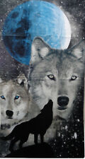 Howling Night Wolf + Moon Terry Velour Beach Bath Towel 30 x 60 Wolves Towels