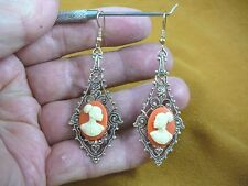 CAE1-31) RARE African American LADY orange + ivory CAMEO dangle Earrings JEWELRY