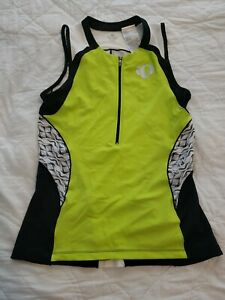PEARL IZUMI Womens XL Cycling Sleeveless Zipper Jersey Green White Black Shirt