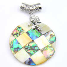 Classical Round Handmade Natural Abalone Shell Gems Silver Necklace Pendants