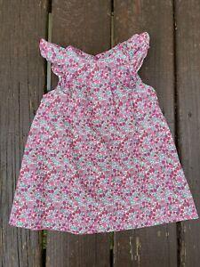 Jacadi Paris Baby Girl Short Sleeves Floral Cotton Dress Size 12  Month EUC