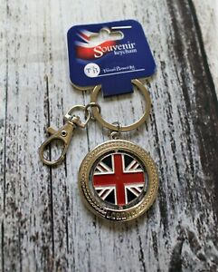 Round Shape I love London Keychain with Lobster Clasp Silver Colour Union Jack