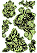 Inkadinkado Rubber Stamps - Carribean Seas - Mermaid, Fish, Seahorse, Anchor
