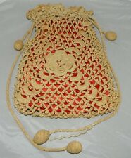 Victorian Antique Crochet Lined Ecru Red Drawstring Tassel Handbag Purse Bag