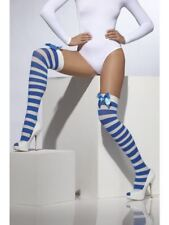 Smiffys Opaque Hold-Ups  Striped with Bows - Blue & White - UK Dress Size 6-14