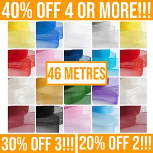 46 Metres Organza Ribbon Rolls 10/15/25mm. Crafting, Cake Ribbons, Sewing, Hair