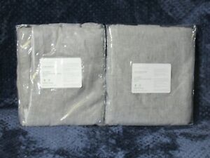 "Pottery Barn Classic Belgian Flax Linen Curtain 50""x84"" Chambray Gray 2 Cotton"