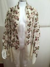 NWT Kashmir Wool Floral Crewel Embroidered Ivory Multicolor Shawl Scarf Wrap OS
