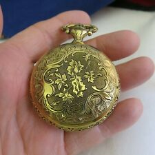 Pocket Watch Black Hills Gold Tone Eagle in Silver Tone - E Gluck Corp. (1216)