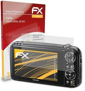 atFoliX 3x Panzerfolie für Fujifilm FinePix REAL 3D W3 Schutzfolie matt&stoßfest