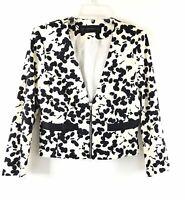 New Zara Basic Womens Printed Zip Up Blazer Jacket Size M Black Ivory Career
