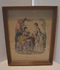 Vintage Wood Framed Victorian Advertising Fashion Print La Mode Illustree 2