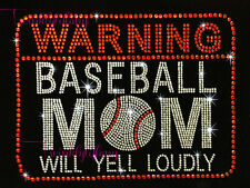 "HOTFIX RHINESTONES HEAT TRANSFERIRON ON ""WARNING BASEBALL MOM"""