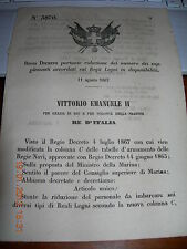 REGIO DECRETO 1867 RIDUZ NUMERO SUPPLEMENTI ACCORDATI REGI LEGNI  (NAVI MARINA)