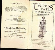 United States Cream Separator #s 39 40 1912 Vermont Farm Machine Co brochure