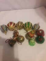 Vintage handmade Christmas ornaments red green blue shiny sequined Victorian 12