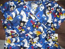 New listing Nwt Disney Mickey Mouse American Patriotic Fireworks 2Xl Hospital Nurse Scrubs