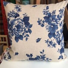 Handmade BLUE FLOWERS LINEN LOOK 100% Cotton Cushion Cover Various sizes