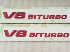 2X Side Fender Sticker Emblem Red Letter V8 Biturbo Mercedes Benz Bi Turbo
