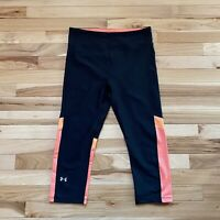 Women's Under Armour Black Compression Cropped Leggings, Size M Pink/Orange