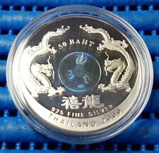 2000 Thailand 50 Baht Millennium 2000 Dragon Silver Proof Coin
