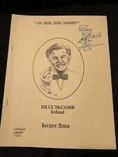 Billy McComb Lecture Notes At Homb With McComb Autographed
