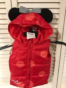 NWT Disney Minnie Mouse Girls Hooded Ear Puffer Vest  - Size 12M - Baby/Toddler