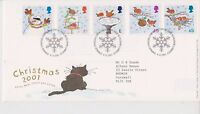 GB ROYAL MAIL FDC FIRST DAY COVER 2001 CHRISTMAS STAMP SET TALLENTS HOUSE PMK