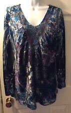 Live And Let Live ONE WORLD Velvet Lace Paisley Blouse Purple Blue Top Shirt L