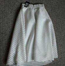 BNWT New Look Lined White Full Skirt Size 6 Midi Length Cut Pattern.