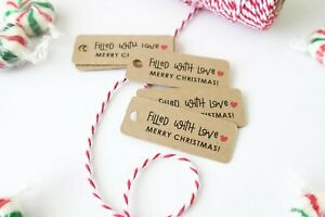 30x Christmas Kraft Gift Tags Merry XMAS Tag Filled With Love Cookies Tag
