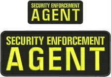 Security Enforcement AGENT embroidery patch 4X10 and 2x5 hook ON BACK yellow
