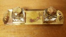 ART NOVEAU BRASS DOUBLE INKWELL POSSIBLY GES GESCH GERMANY PINECONE PATTERN