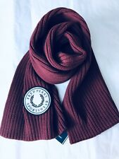 Fred Perry Men Scarf 100% Cotton Ribbed Cotton Port/Red