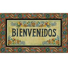 18 x 30 in. Bienvenidos Door Mat Multi Color Recycled Rubber Welcome Patio Entry
